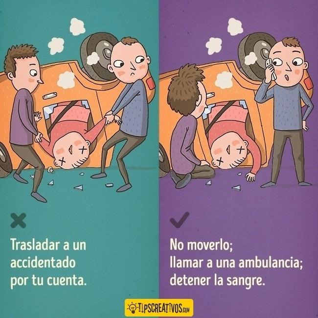 No muevas a una persona accidentada que seguramente tenga lesiones