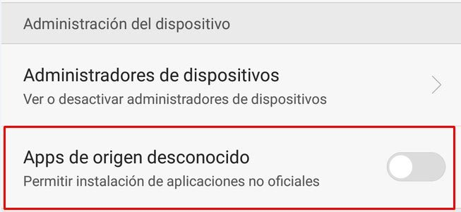 android aplicaciones desconocidas
