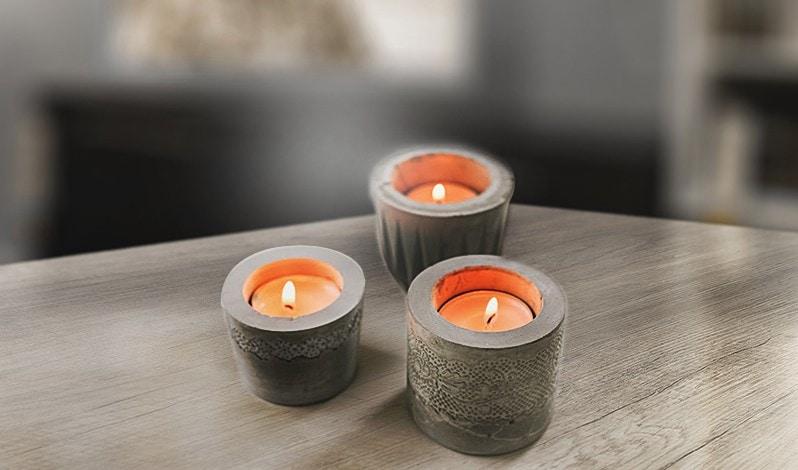 Porta velas con cemento